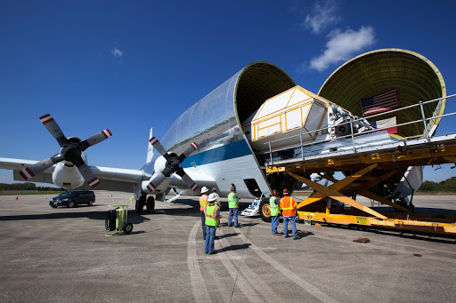 Orion EM-1 Crew Module Structural Test Article loaded onto Guppy