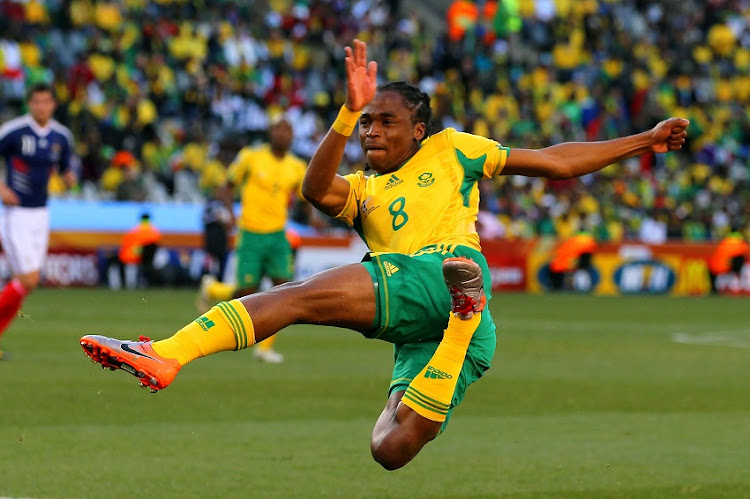 Siphiwe Tshabalala in action during the 2010 FIFA World Cup South Africa Group during a match between France and Bafana Bafana at the Free State Stadium on June 22, 2010 in Mangaung.