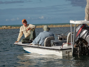 Photo: Dave Kitchen and Jack Dildine hunting for fish- Andros Island Bonefish Club