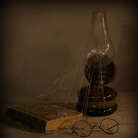 The lamp by Berrin Aydın - Artistic Objects Still Life ( old, glasses, book, lamp, spider )