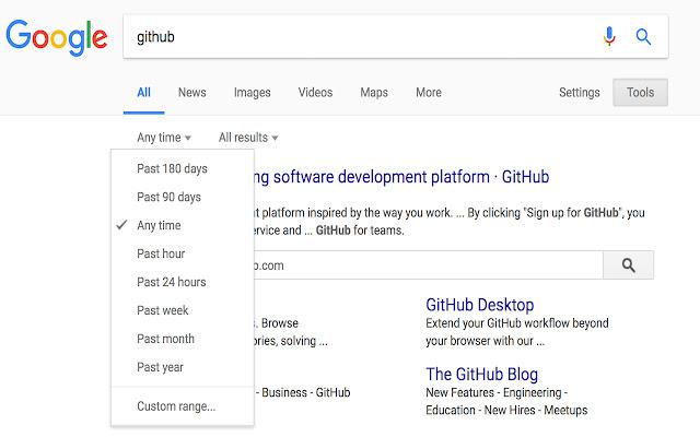 Google Search Quick Custom Ranges