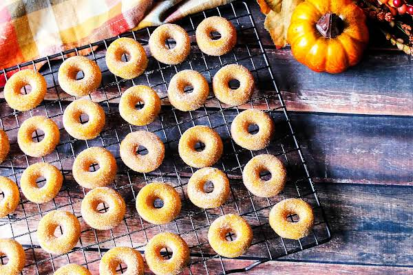 A Rack Of Pumpkin Mini Doughnuts.