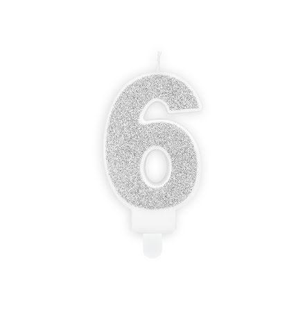 Tårtljus 6, silver
