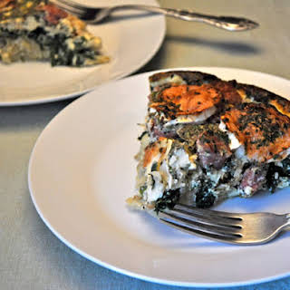 Sausage, Spinach and Goat Cheese Quiche.