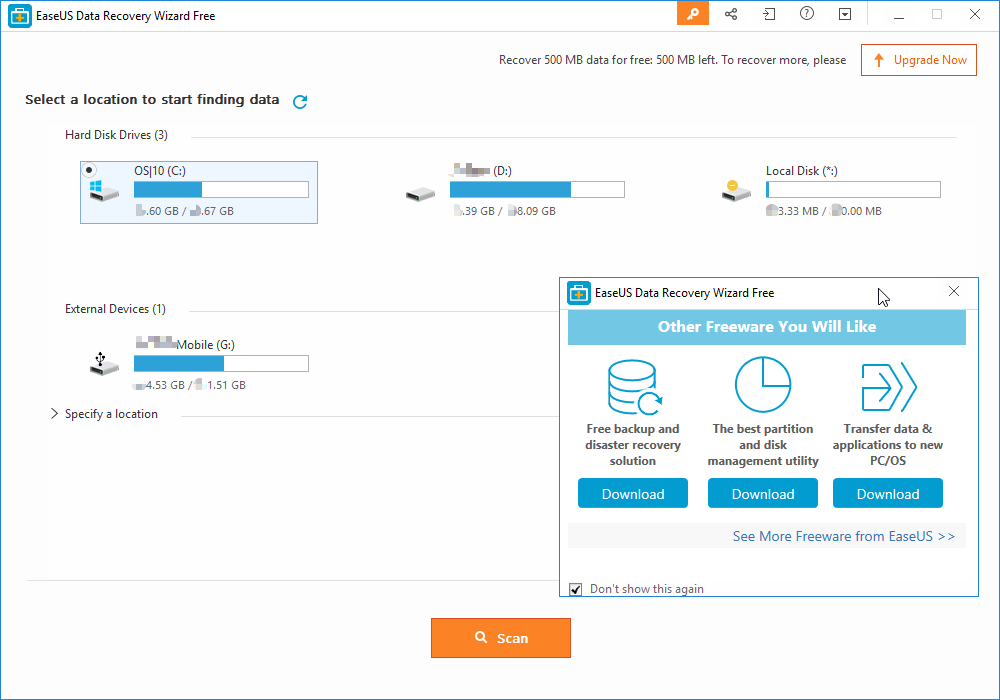 EaseUS Data Recovery Wizard Free main window