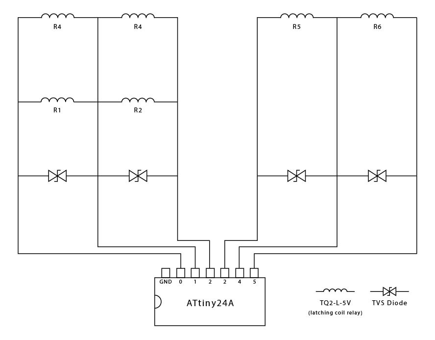 using the attiny24a to drive 6 latching relays (spread out between pins 0  and 5 due to attiny's 40 ma limitation)