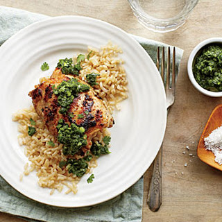 Grilled Chicken Thighs with Cilantro-Mint Chutney