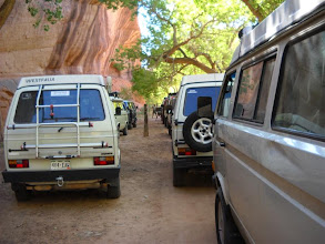 Photo: Heading into Canyon de Chelly.  A stop at some rock art and a place to air-down before the sand.