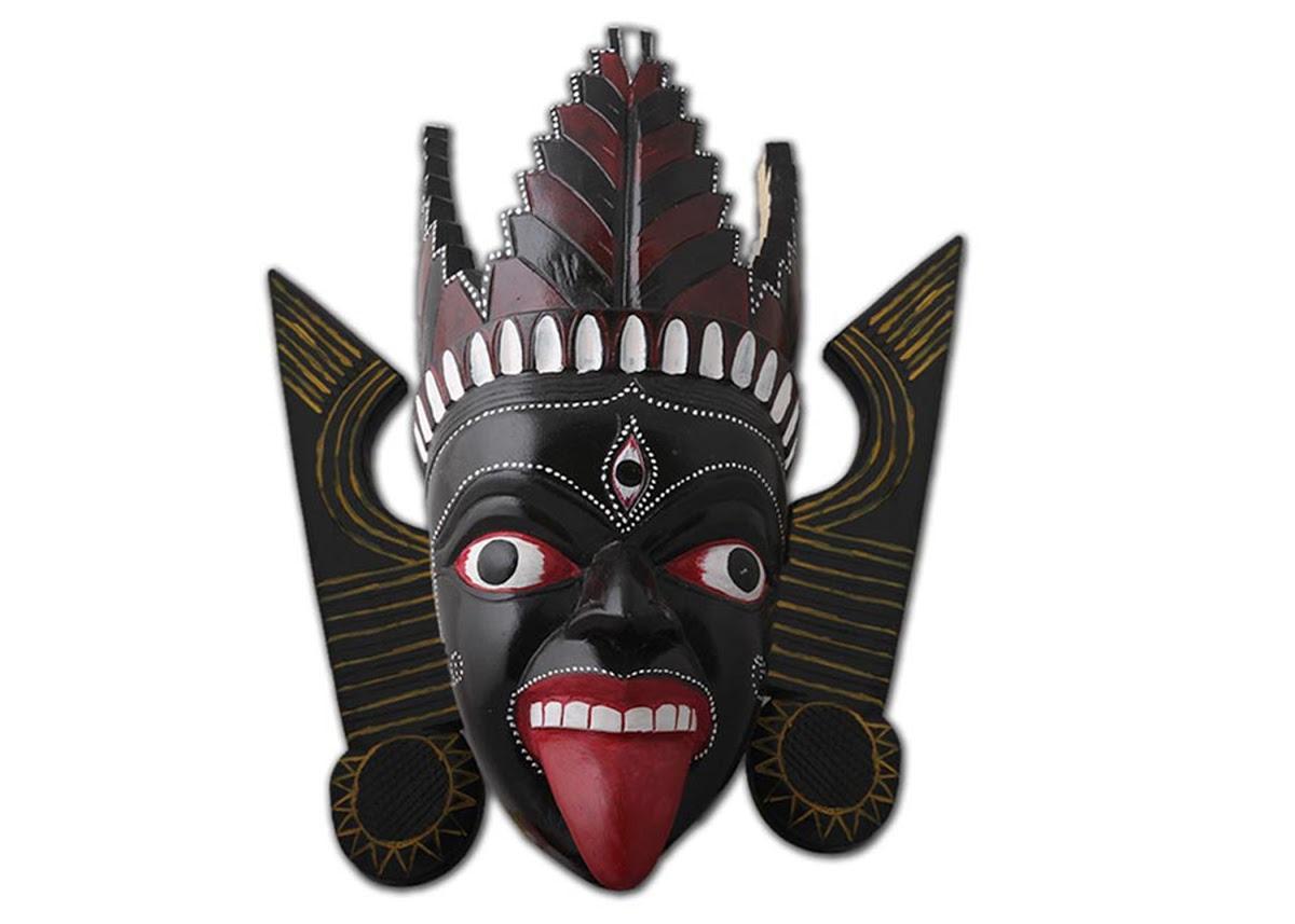 Wooden Kali Mask of Kushmandi - Artist from Dakshin Dinajpur — Google Arts  & Culture