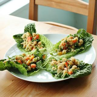 Confetti Quinoa and Chickpea Lettuce Wraps.