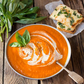 Creamy Tomato Soup and Basil Cheese on Toast.