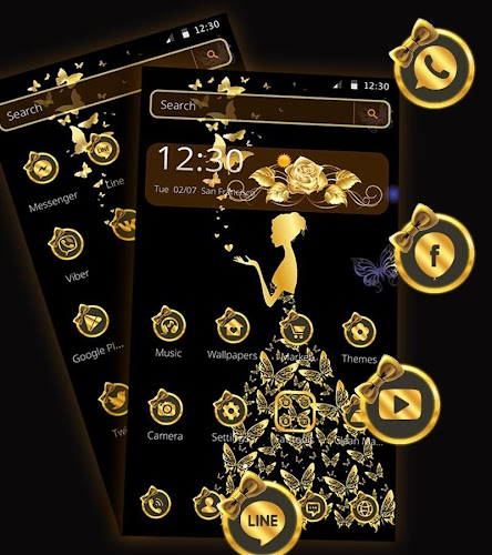 Download Gold Butterfly Girl Theme Apk Latest Version App By