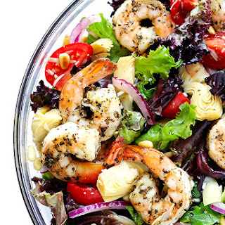 Shrimp and Artichoke Green Salad with Lemony Vinaigrette.