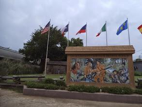 Photo: Davy Crockett mural, near where he camped on way to Alamo - Crockett