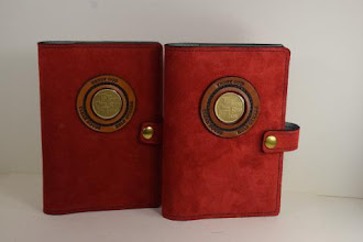 Photo: P0420 (left or right $49.95) Chrome Tanned Red color Suede leather Portable Paperback Big Book (Medallion Holder and Snap & Strap)