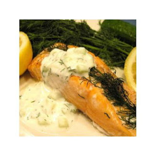 Oven Roasted Salmon With Cucumber Dill Sauce
