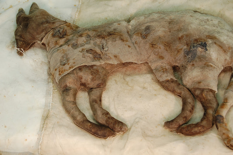 Photo: A Measure: pillow 2 Rust and tea stained silk organza, silk chiffon, encaustic, human hair, and old pillow.