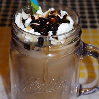 Chocolate Caramel Brew Over Ice Coffee.