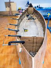 Photo: glueing the port inner gunwale