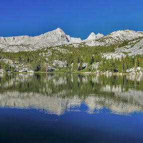 Reflection by Ramsey Samara - Landscapes Mountains & Hills ( reflections, sierra nevada, backpacking, hiking, lake )