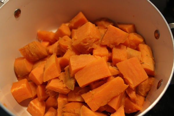 PEELING SWEET POTATOES: Let sweet potatoes cool in water until you can handle them....