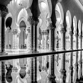 Reflection - Abu Dhabi, UAE by Manoj Kumar Kd - Buildings & Architecture Places of Worship ( reflection, uae, abu dhabi, mojofotography )