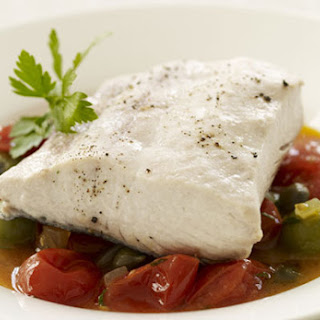 Mahi Mahi Stewed with Cherry Tomatoes and Capers