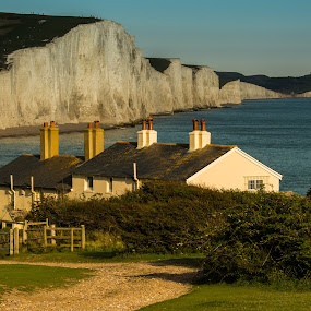 Seven Sisters from Seaford Head by Mike Hayter - Landscapes Mountains & Hills ( cliffs, cottages, seaside, seven sisters, evening, eastbourne )