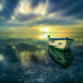 Reflection by Ade Irgha - Transportation Boats ( clouds, sanur, visit bali, long exposure, beach, boat )