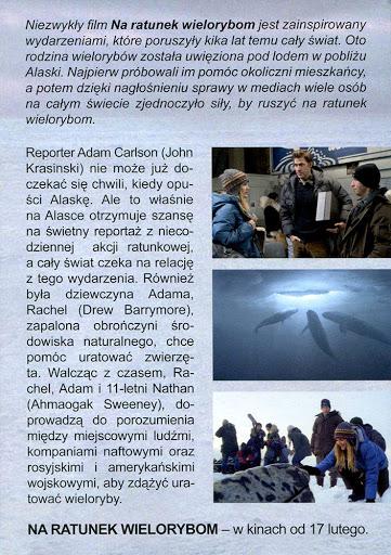 Tył ulotki filmu 'Na Ratunek Wielorybom'