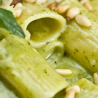 Rigatoni With Pesto and Chickpeas.