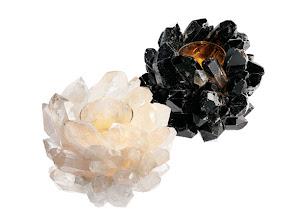 Photo: KATHRYN McCOY DESIGN Handmade candle holders. Smoky black quartz 6.5″ wide x 7″ high $795. Grande clear quartz 6.5″ wide x7″ high $750. Both are available in 4.5″ wide x5″ high $295. Also available in amethyst, celadon, black quartz with pyrite, clear quartz with pyrite, and clear quartz with turquoise. USA. Seventh Floor. 212 872 2686