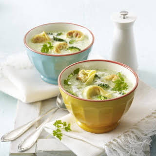 Creamy Soup with Fried Tortellini and Broccoli.