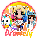 Drawely - How To Draw Cute Girls and Coloring Book icon