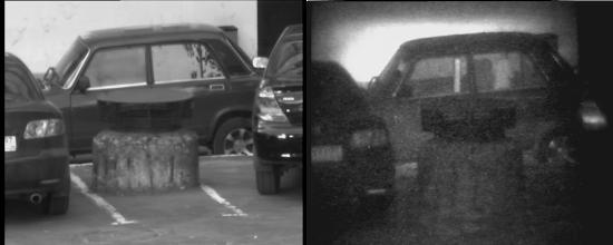 Photo: Слева: припаркованные во дворе автомобили с тонированными и бликующими на солнце стеклами. За стеклами ничто не просматривается ни визуально, ни с помощью ТВК.  Справа: те же автомобили, но наблюдаемые с помощью прибора «Призрак-М». За стеклами видна внутренняя часть салона: сидения, висящая куртка, подголовники. Людей в салонах нет.
