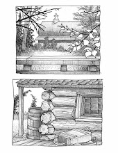 Photo: Creamer's Field (pen & ink sketch) + Log cabin at Alaskaland (pen & ink sketch)