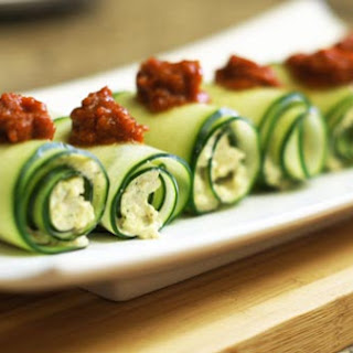 Cucumber Roll-Ups with Sun Dried Tomato Sauce.