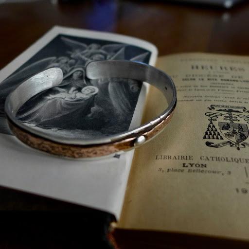 """le """"Cooper"""" bracelet argent 925 parementure cuivre rivets argent ou bronze"""