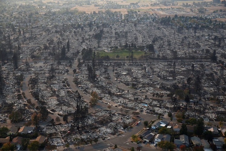 An aerial view of properties destroyed by the Tubbs Fire in Santa Rosa, California, on 11 October 2017. Picture: REUTERS