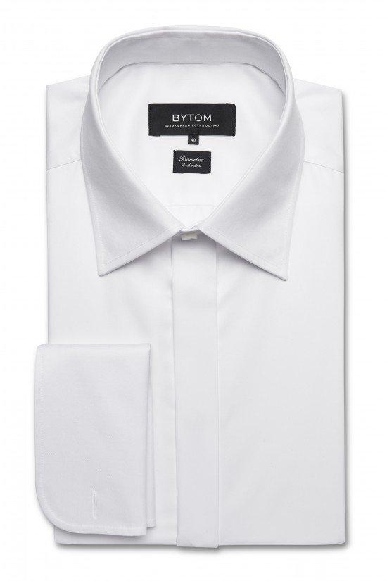 Biała formalna koszula na spinki marki Bytom