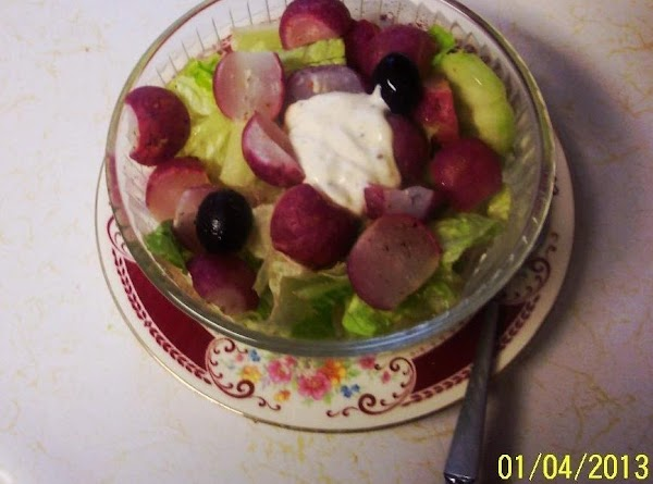 Have ready a salad bowl or plate  with  cut up (torn) lettuce...