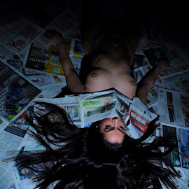 The People's Voice by DJ Cockburn - Nudes & Boudoir Artistic Nude ( model, art nude, dark hair, lying, off camera flash, home shoot, white, supine, jess harrington, caucasian )