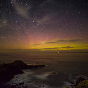 Golden Aurora by Phil Hanna - Landscapes Starscapes ( water, milkyway, waves, aurora, ocean, seascape, wow, awesome, stars, night, bass straight, aurora borialis, golden, aurora australis )