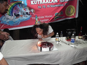 Photo: Shanaz blows her candles with a little help from Thamil!