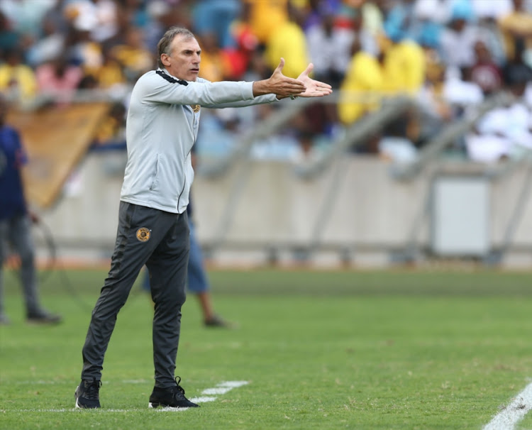 Kaizer Chiefs coach Giovanni Solinas reacts on the touchline during the 1-0 Telkom Knockout quarterfinal win over SuperSport United at of Kaizer at Moses Mabhida Stadium in Durban on November 04, 2018.