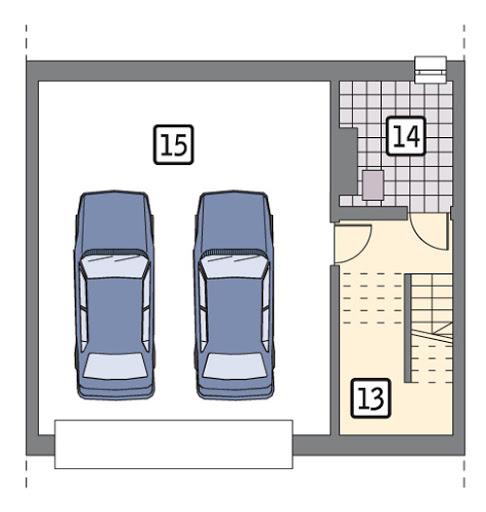 Łączący - segment środkowy podpiwniczony - BCC285a - Rzut piwnicy