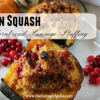 Acorn Squash Stuffed With Cornbread, Sausage & Cranberries.