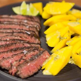 Grilled Skirt Steak with Orange, Oregano and Fresh Mango.
