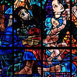 Canterbury Cathedral Stained Glass Detail by Dee Haun - Artistic Objects Glass ( artistic objects, unedited, blue, 180926f4724ce1, stained glass, window, canterbury cathedral, detail, sony rx-10, cropped,  )