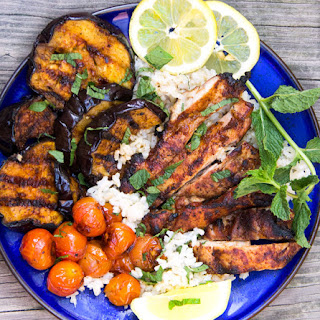 Grilled Harissa Chicken Rice Bowl with Glazed Eggplant.